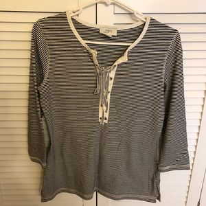 Ann Taylor Loft 3/4 sleeve stripped t shirt